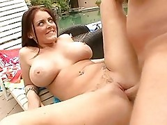 Big titted MILF bitch shags by the pool