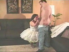 Brunette midget takes facial