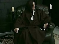 Horny nun got her panties down and spanked on her nice ass b