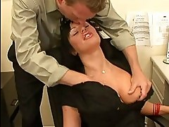 Heavy chested milf brunette takes big cannon up her pierced ...