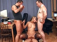 Secretary expiriencing group sex at the office