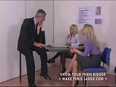 Two blonde dommes spank and cane office guy part1