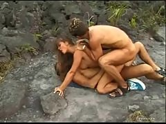 Group sex and double penetration outdoors