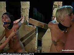 Two tied up babes mouth fucked