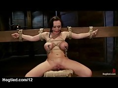 Tied up huge tits babe whipped and pussy ...