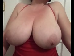 Bbw Lateshay red mini & black stockings 36 G saggy tits