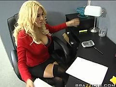 Busty Secretary Gets Fucked By One Of Her Co-worker In The Stockroom