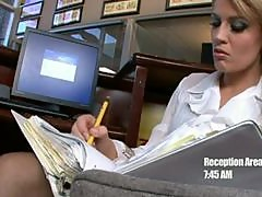 Lovely Brunette Secretary Gets A Hardcore Fuck On Top Of An Office Desk