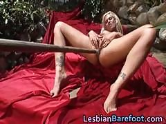 Hot Outdoor Lesbian Toes And Woody Dildo