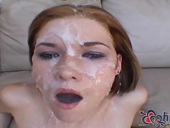 Allie Sin gets facial in gangbang