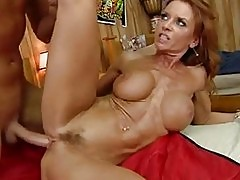 Filthy bitch Janet Mason gets her mouth sauced with jizz aft...