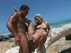 Big Cock Drilling an Insanely Beautiful Blondes Pussy At The Beach