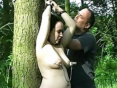 English Amateur Slave Tied To A Tree And Tortured