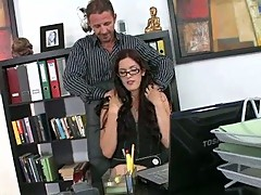 Brunette secretary Monica Mayhem riding overweight jock