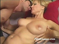 Blonde busty cougar gets fucked by n...