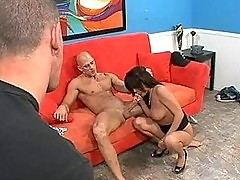 Brunette Wife Fuck Upside Down on Couch