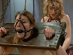 Blonde Dominatrix In Leather Lingerie Spanking and Fucking with Strapon