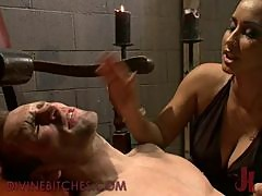 Busty Brunette Dominatrix Fucks Male Slave With Strapon