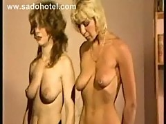 Two slave hangin on their tits on the ceiling and other hot