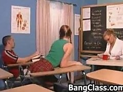 Hot threesome in the class room with the teacher