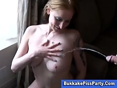 Pissing shower bukkake slut