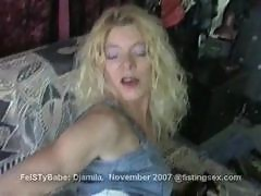 Djamila fisting her pussy and getting fisted and gaping