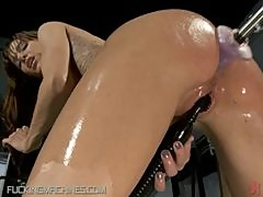 Hot MILF Getting Her Asshole Fucked By Machine while She Toys Her Wet Pussy