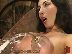Slutty Brunette Goes Insane On Top A Fucking Machine