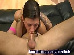Trashy Brunette Gets Roughly Face Fucked, Upchucks, And Gets Boned
