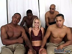 Erin Moore gives great head to each guy