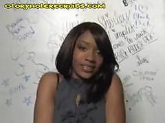 Young Ebony Cutie Strips And Plays With His Cock Through The Glory Hole